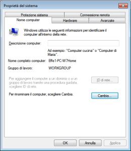 Windows 7 - Proprietà del sistema