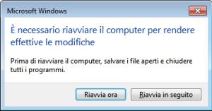 Windows 7 - Richiesta riavvio PC