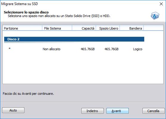 Aomei Partition Assistant - Migrare Sistema su SSD - Selezionare lo spazio disco