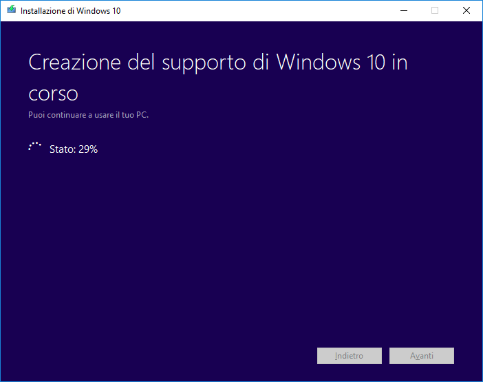 Windows 10 - Media Creation Tool - Creazione supporto Windows 10 in corso
