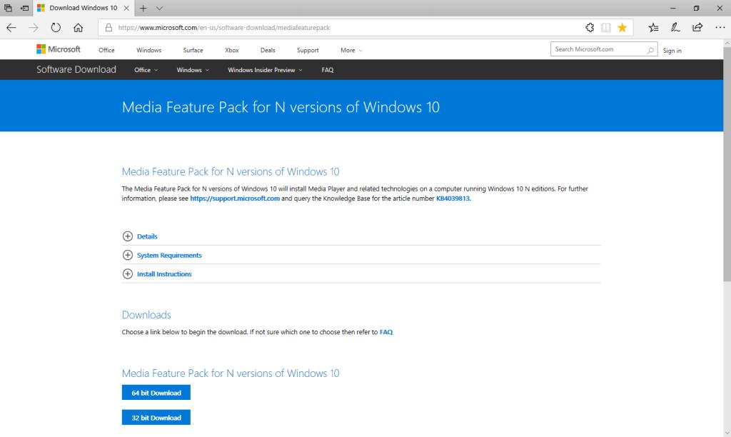 Windows 10 N - Download Media Feature Pack - Piattaforma