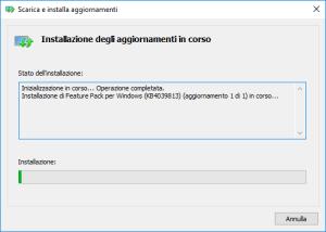 Windows 10 N - Media Feature Pack - Installazione in corso