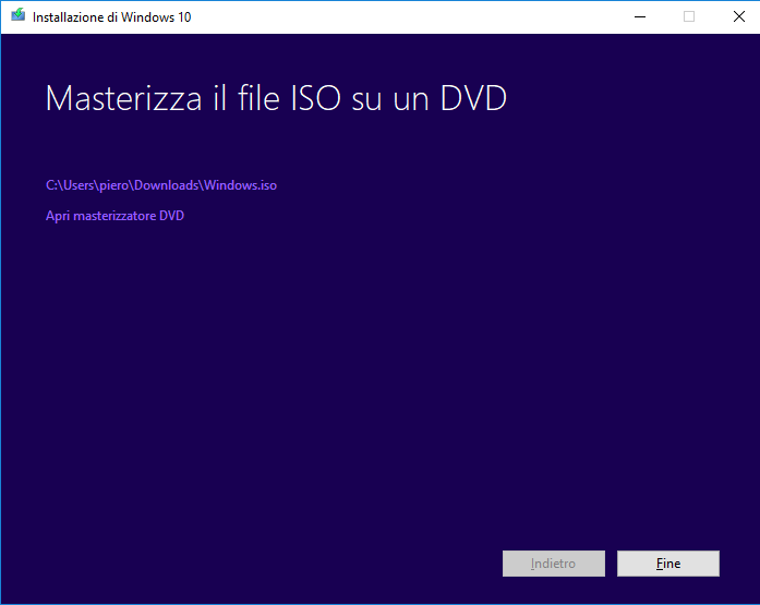 Windows 10 - Media Creation tool - Iso creata