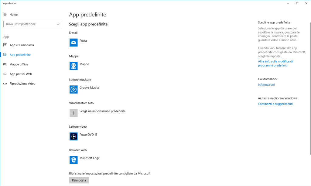 Windows 10 - App Predefinita - Lettore Musicale Modificata