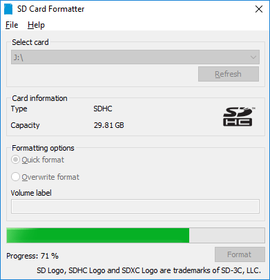SD Card Formatter - Format in corso