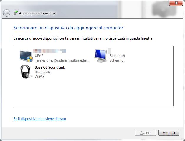 Windows 7 - Dispositivi Bluetooth trovati