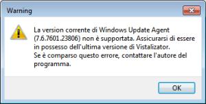 Windows 7 - Vistalizator - Avviso versione Windows update agent