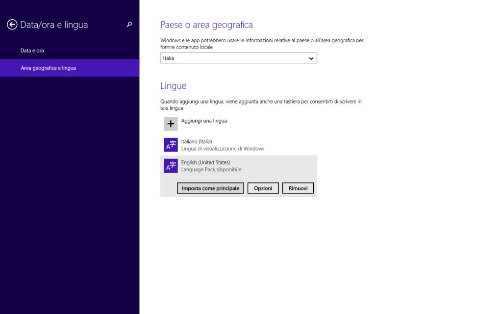 Windows 8.1 - Info PC - Imposta lingua inglese principale