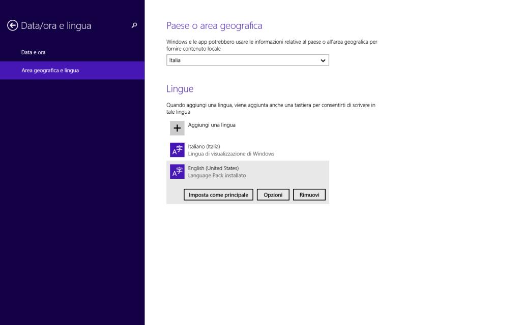 Windows 8.1 - Info PC - Cambia lingua