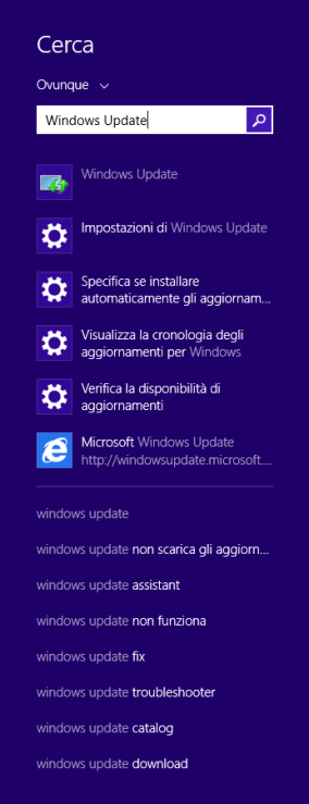 Windows 8.1 - Ricerca Windows Update