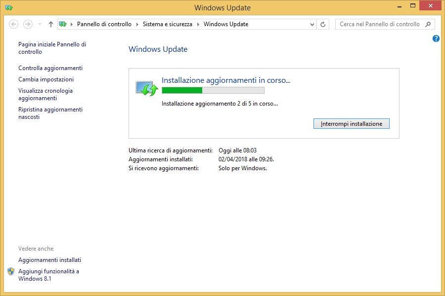 Windows 8.1 - Windows Update Aggiornamento in corso Installazione