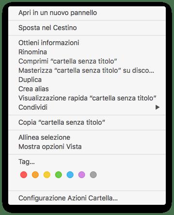 Mac OS - Menù contestuale - Rinomina