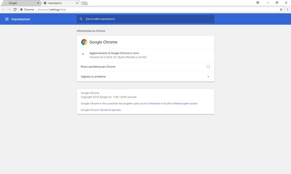 Chrome - Aggiornamento in corso