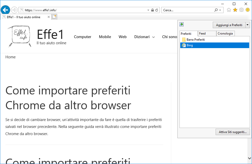 Internet Explorer - Scheda Preferiti