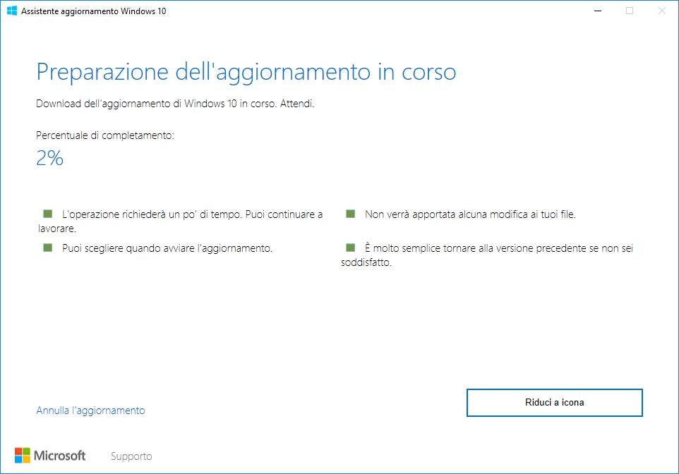 Windows 10 Upgrader - Download in corso
