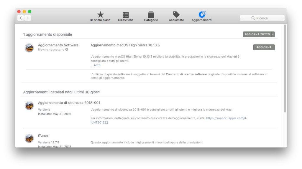 macOS - Apple - aggiornamenti trovati