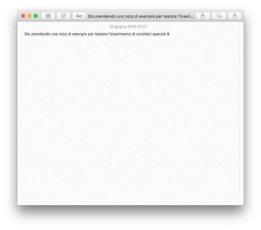 macOS - Apple - Nota di esempio con e commerciale