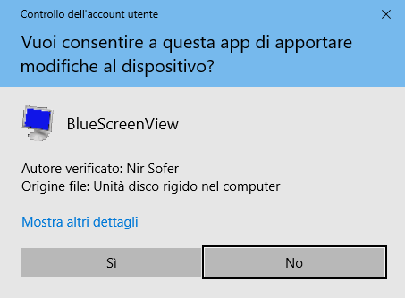 Windows 10 - Richiesta conferma avvio Blue screen view