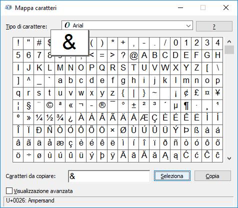 Windows - Mappa caratteri - e commerciale selezionato