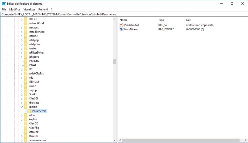 Windows 10 - RegEdit - kbdhid