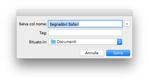 macOS - Apple - Safari - Esporta segnalibri