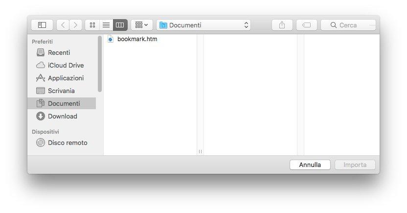 macOS - Apple - Safari - Importa segnalibri da file