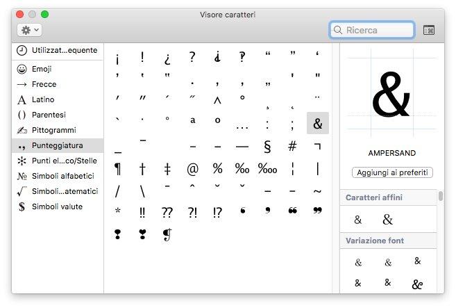 macOS - Apple - Visore caratteri