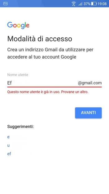 Android Oreo - Account esistente