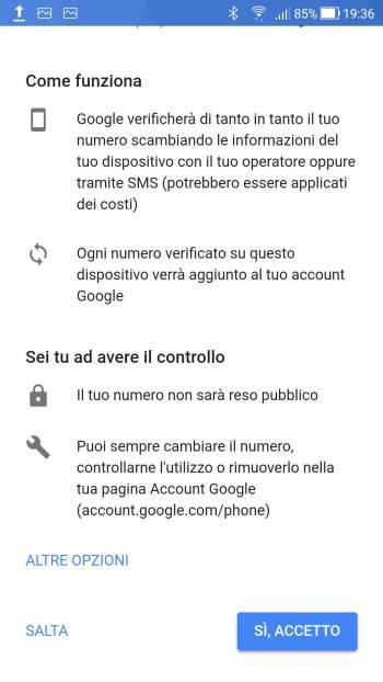 Android Oreo - Aggiungere numero telefono - Fine