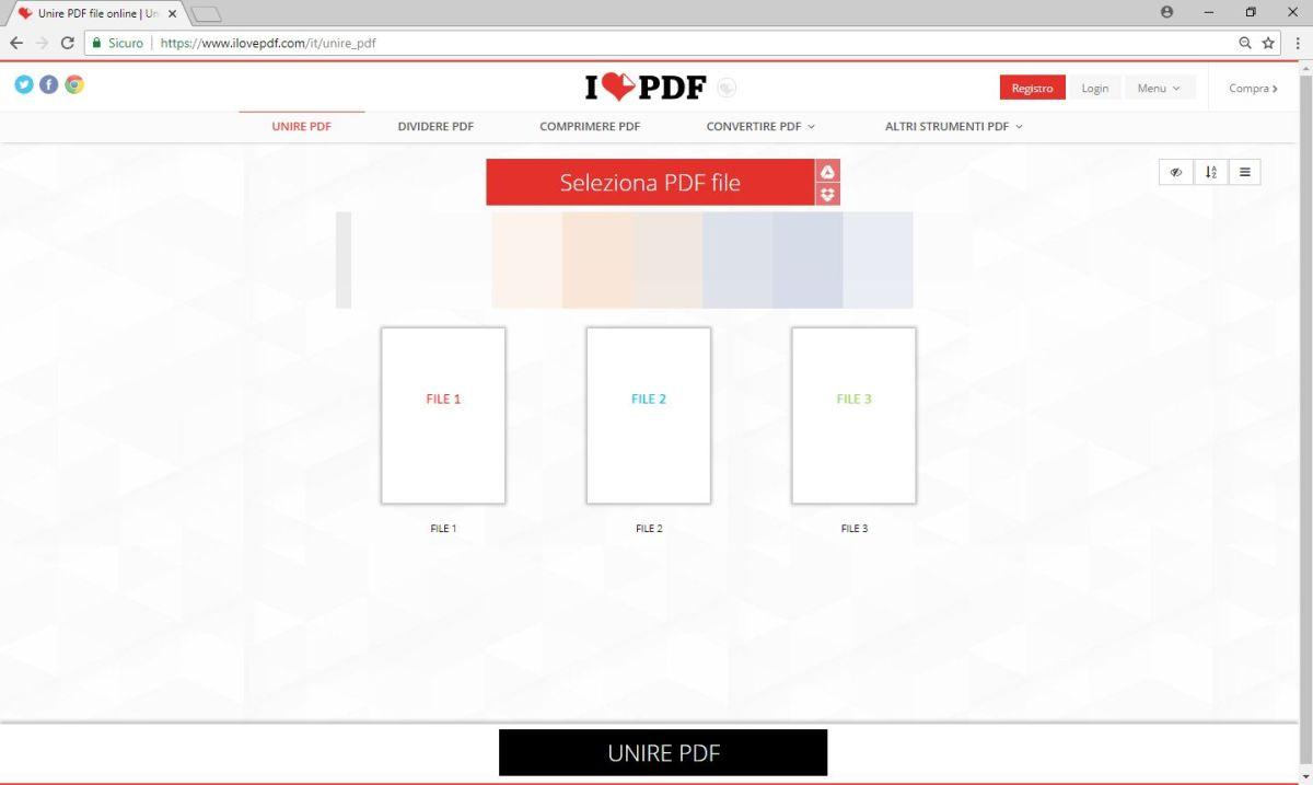 ILovePdf - Unione - File PDF Selezionati