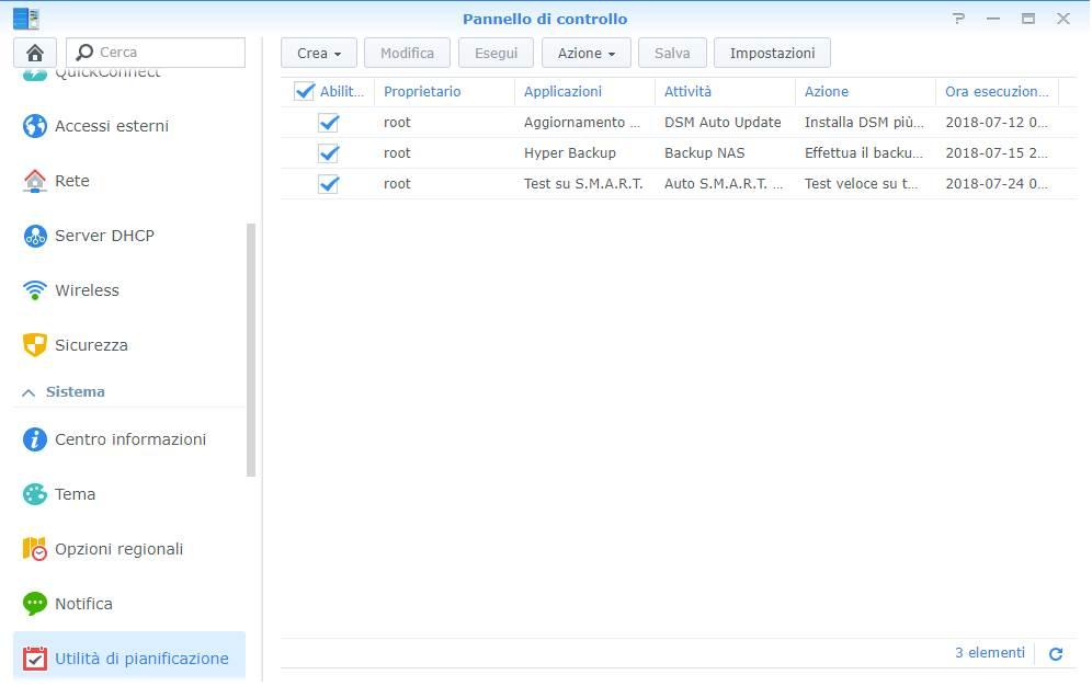 Synology - DiskStation Manager - Utilità di pianificazione