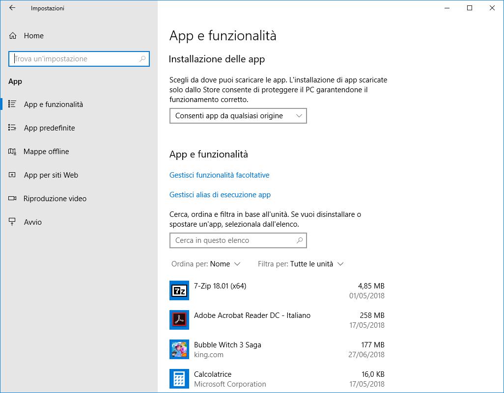 Windows 10 - App e funzionalità v1803