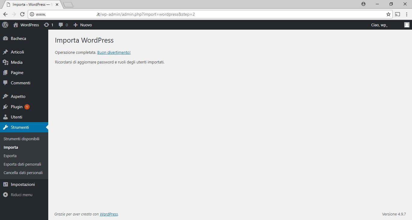 WordPress - Importa WordPress - Operazione Completata