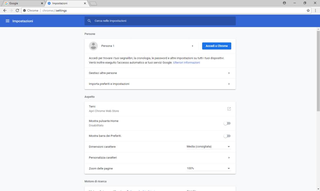Google Chrome v68 - Scheda Impostazioni