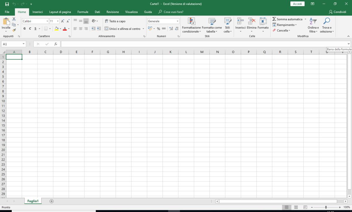 Microsoft Excel - Cartella di lavoro vuota