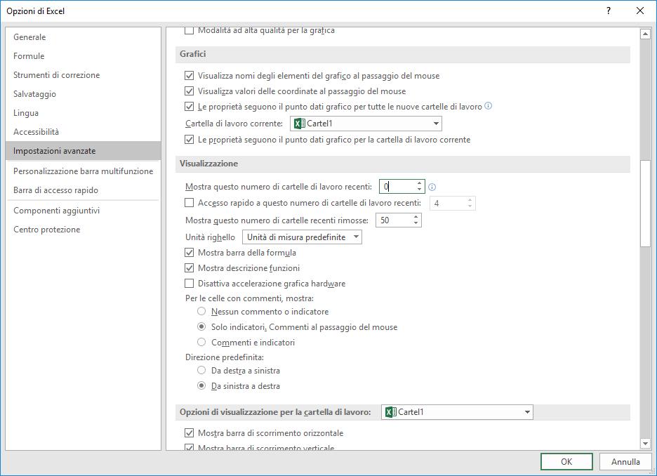 Microsoft Excel 2016 - Opzioni - Impostazioni Avanzate - Visualizzazione
