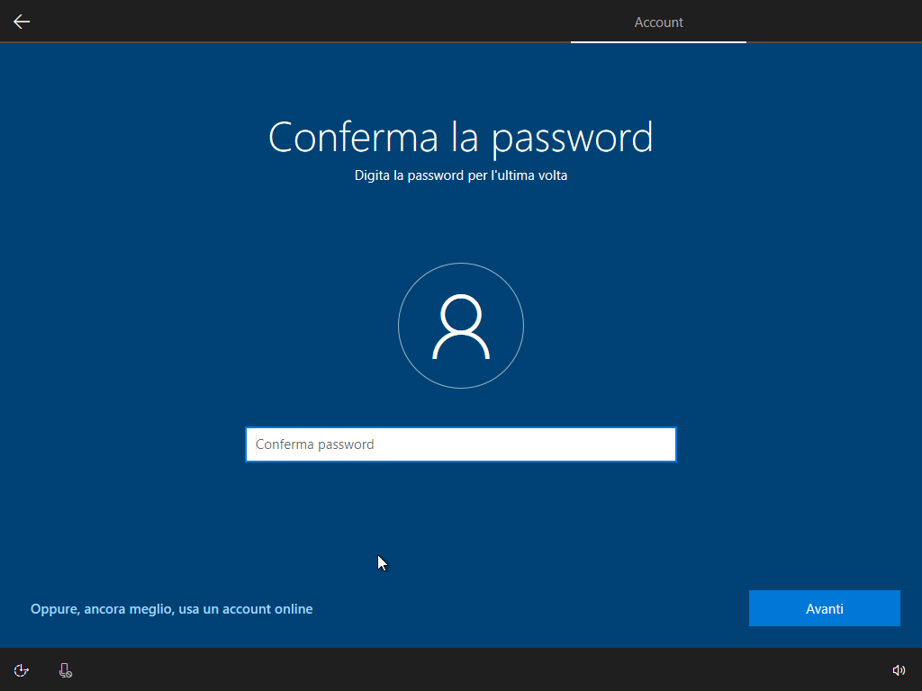 Windows 10 - v1803 - Installazione - Conferma password