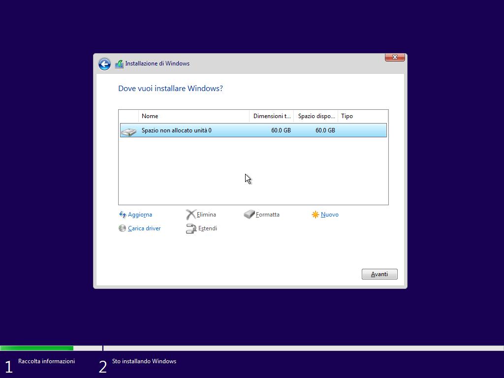 Windows 10 - v1803 - Installazione - Dove installare Windows
