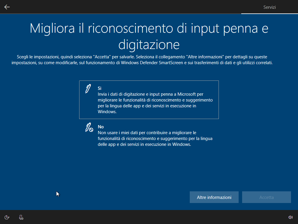 Windows 10 - v1803 - Installazione - Input Penna