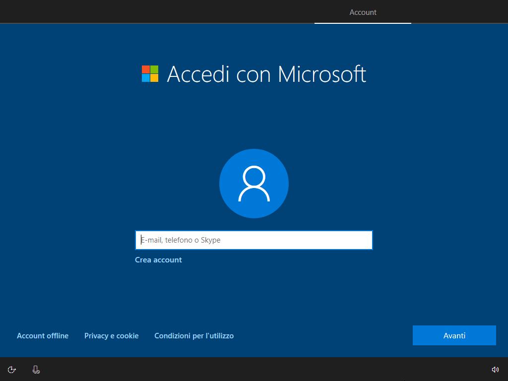Windows 10 - v1803 - Installazione - Scelta Account