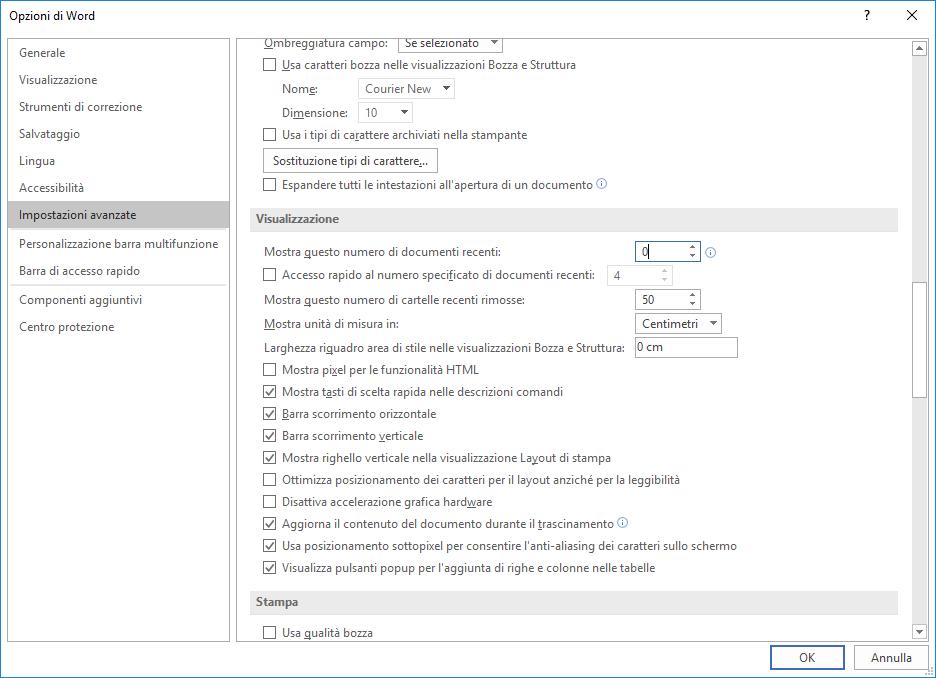 Microsoft Word 2016 - Opzioni - Impostazioni Avanzate - Visualizzazione