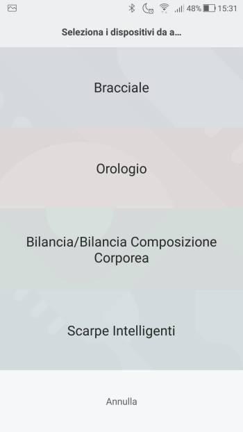 Xiaomi Mi Fit - Seleziona dispositivi da associare