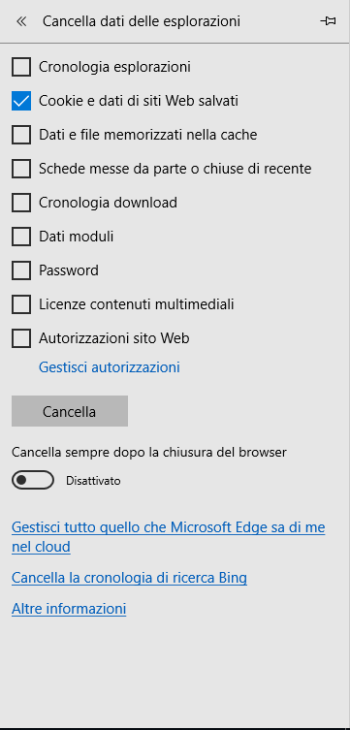 Microsoft Edge - Cancella Cookie