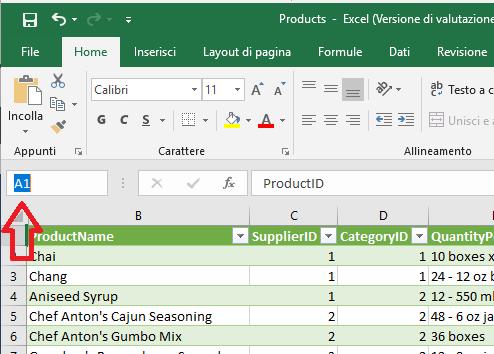 Microsoft Excel 2016 - Casella Nome A1