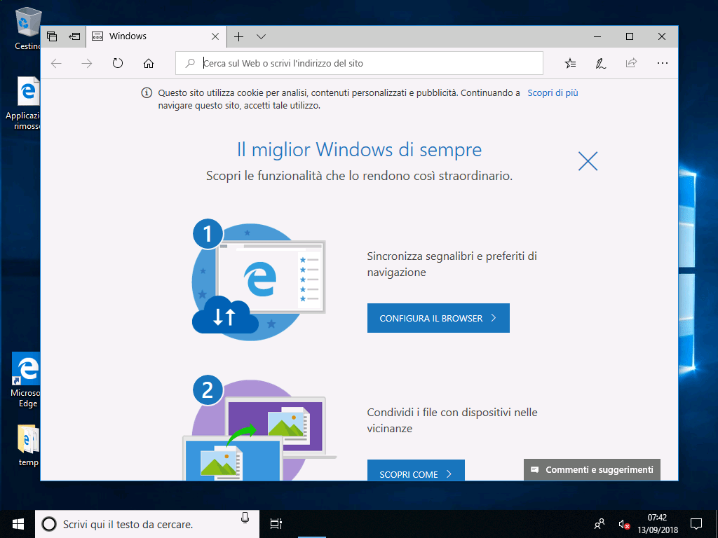 Windows 10 v1803- Ripristino PC - Primo avvio
