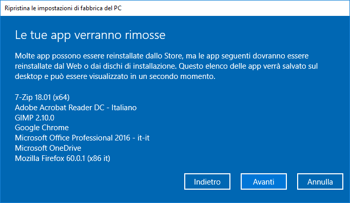 Windows 10 v1803- App da rimuovere ripristino PC