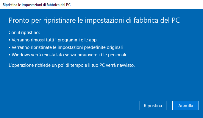 Windows 10 v1803- Ripristino PC - Resoconto con dati personali