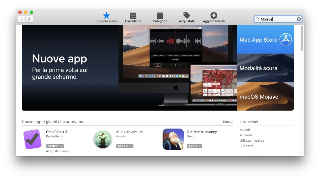 macOS 1013 - App Store - Ricerca Mojave