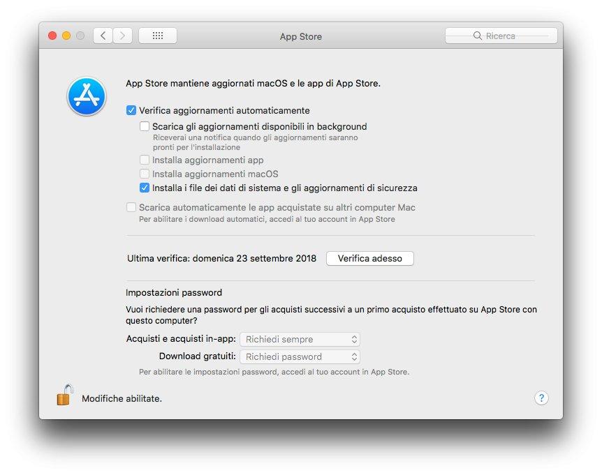 macOS 1013 - Disabilita aggiornamenti automatici App Store