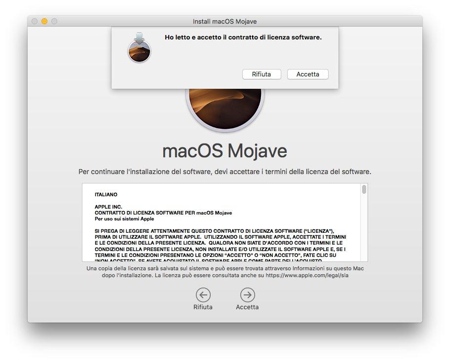 macOS 1013 - Installa Mojave 03 - Termini licenza software